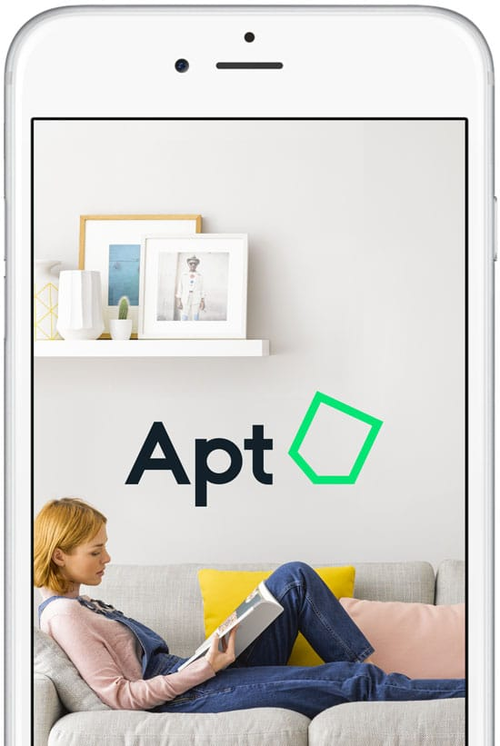 The Apt app shown on an iPhone